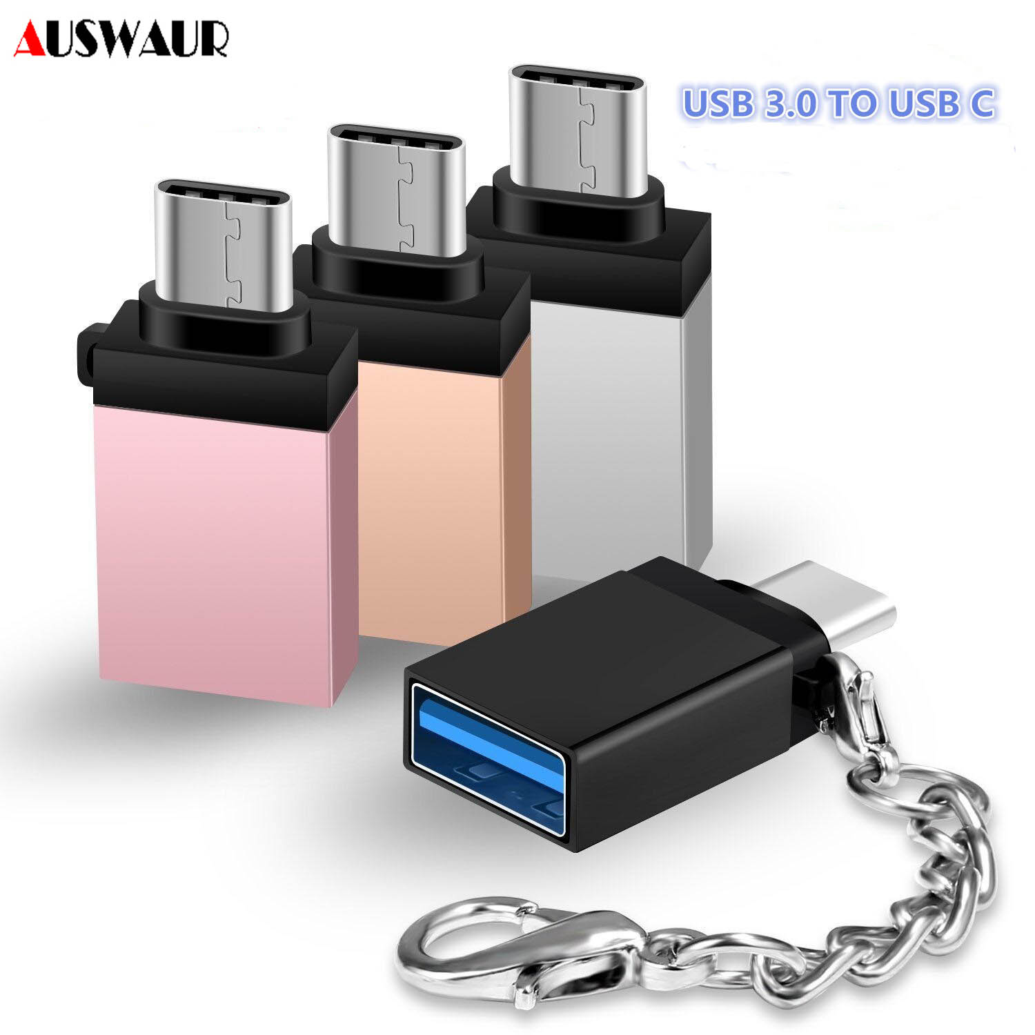 USB3.0 To Type C OTG Adapter With Chain For Tablet Samsung S10 S9 S8 Huawei Xiaomi Mobile Phones MacBook Pro U Disk Adapter