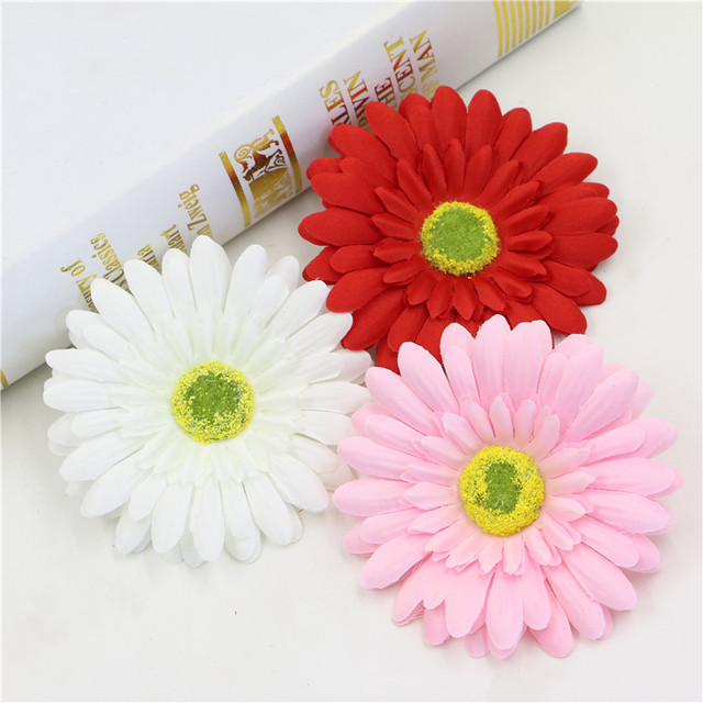 100pcs Silk Daisy Flower Head Artificial Gerbera Bouquet Handmade Wedding Home Decoration Sunflower Diy Hair