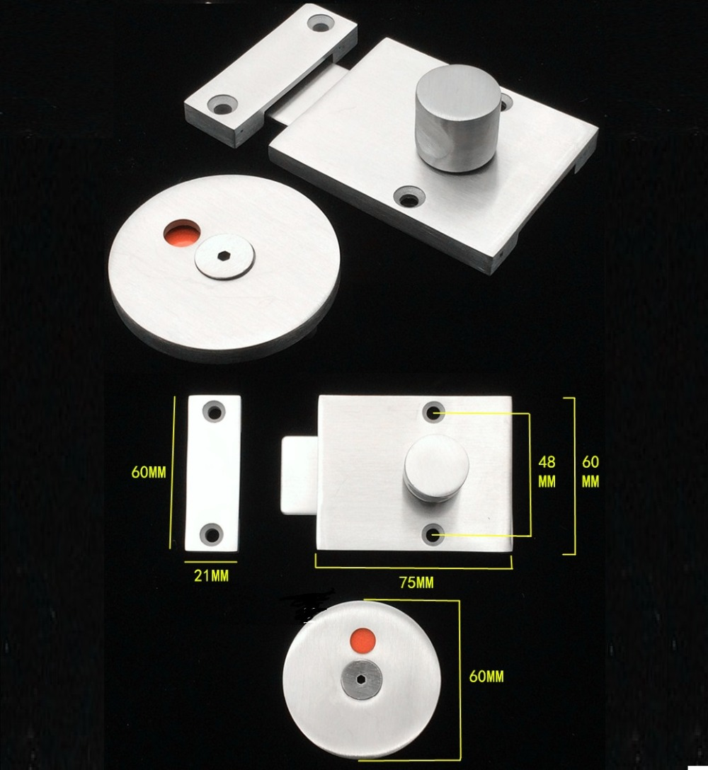 304 Stainless steel Door Lock Latch With Red Green Indicator Public Restroom Toilet Partition Thumb turn цена 2017