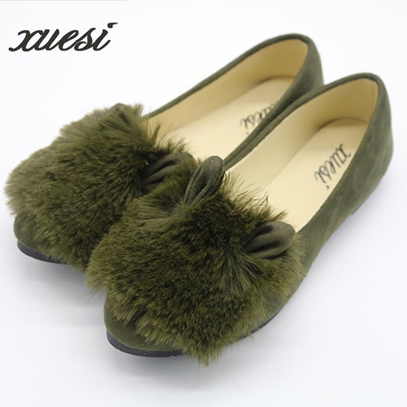 new Ballet Flats Women Shoes Ohanna Bottom Rabbit Fur Shoes Shallow Mouth Round Shoes Oxford Shoes For Women Dames Schoenen
