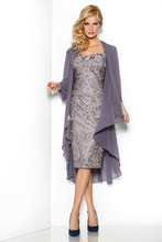 2015 Mother of the Bride Dresses Knee Length Gray Lace Chiffon Jacket Wedding Guest Outfit Formal Party Gown Plus Size Handwork