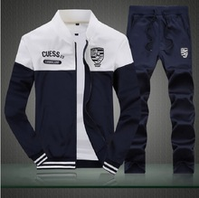 2017 New Brand Mens Sportswear Clothing Set Polo Suit Set Men Letter Print Tracksuits Cardigan Sweater + Pants 3XL black/blue