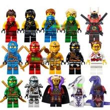 15pcs/Lot Compatible LegoINGLYs Cole Kai Jay Lloyd Nya Skylor Zane Pythor Chen Building Blocks Ninja Toys