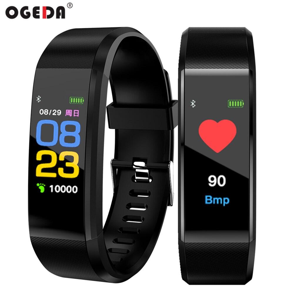 OGEDA Santé Fitness de suivi Montre Smart Watch 115 plus Bracelet Coeur taux sang pression Couleur écran étanche digitale montre