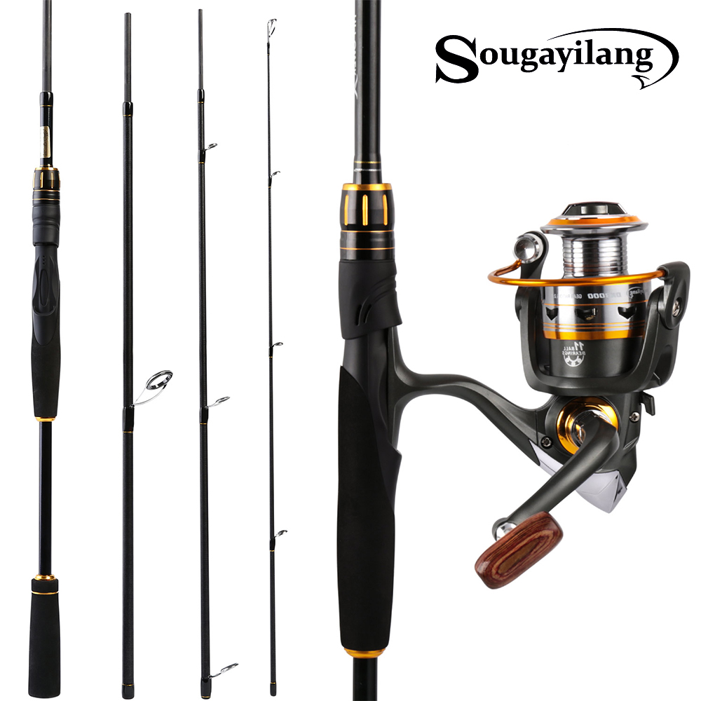 Sougayilang 2 1m Fishing Pole and Fishing Reel Carbon Sea Carbon Lure Rod and Casting Spinning