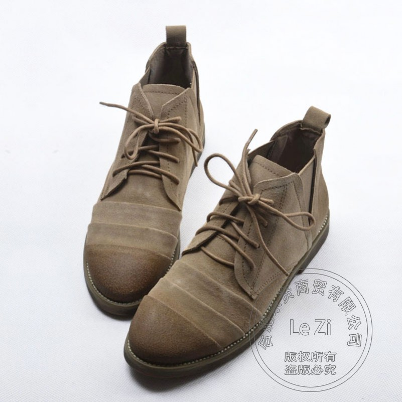 Chukka Soft Leather Trekking Boots Suede Vintage Shoes font b Women b font Shoes Plain Help