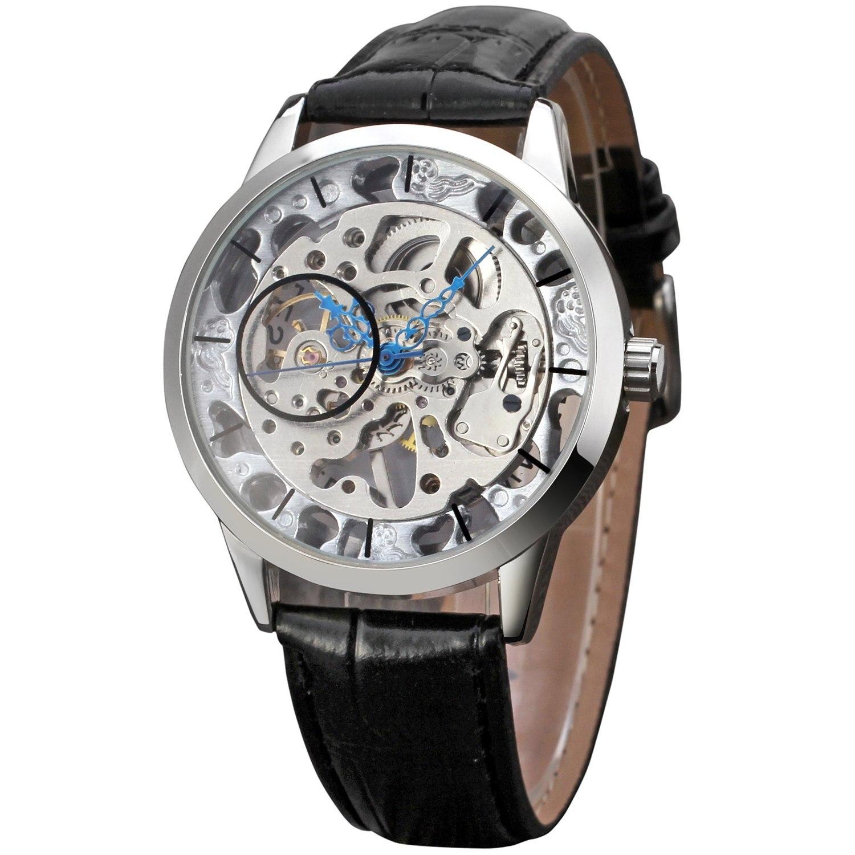 89458533b9db Ganador nuevos retro transparente reloj hombres relojes ultra delgado  diseño clásico macho regalo mano viento mecánico reloj de pulsera