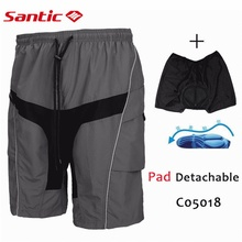 цена на Santic Men Loose Cycling Short Shorts Bike/Bicycle MTB Road Baggy Shorts Cycling 3D Padded Gel bermuda ciclismo 4XL C05003/17/18