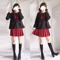 Students JK Uniform Lolita Shirt Pleated Skirt School Kawaii Girls Cute Cosplay Costume Red Sailor Collar Long Sleeves Top