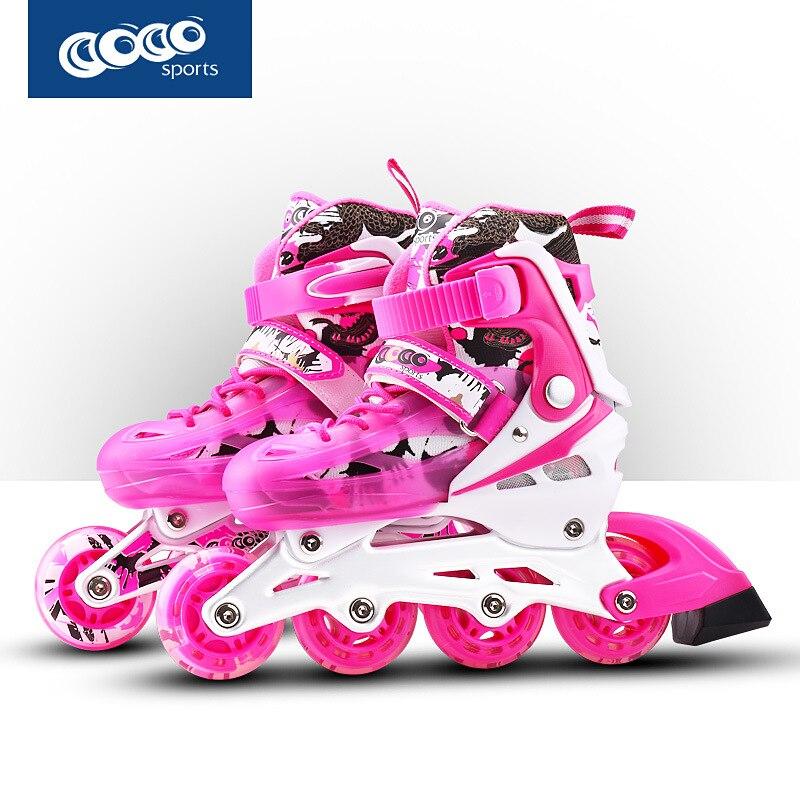 Prix pour Professionnel Adulte Enfants Slalom Coulissante Inline Patins À Glace Chaussures De Patinage Réglable Flash Lavable PU roues Patins À Roues Alignées