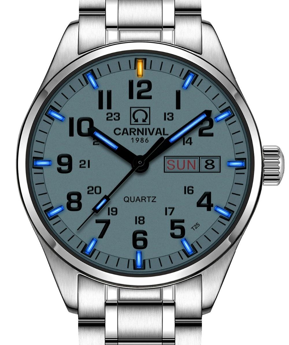Luxury tritium light Waterproof watch men Sapphire glass silver Stainless Steel date week display black dial Quartz watch цена и фото