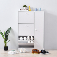 Panana Shoe Cabinet with 3 Compartments with rack Shelf Home Hallway Livingroom Storage Organizer