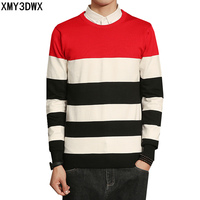 2017 New Striped Sweater Men Casual Winter Autumn Skinny Mens Pullovers Sweaters Slim Fit Fashion Men