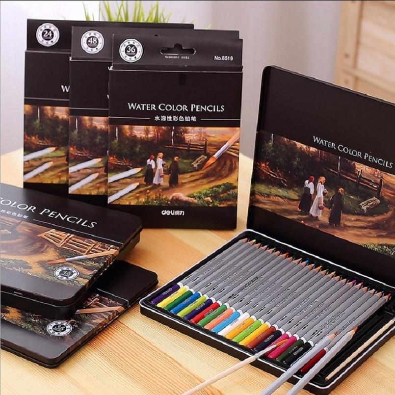 Deli brand water color pencils 24/36/48/72 Water-soluble colored pencils office & school stationery supplies стоимость