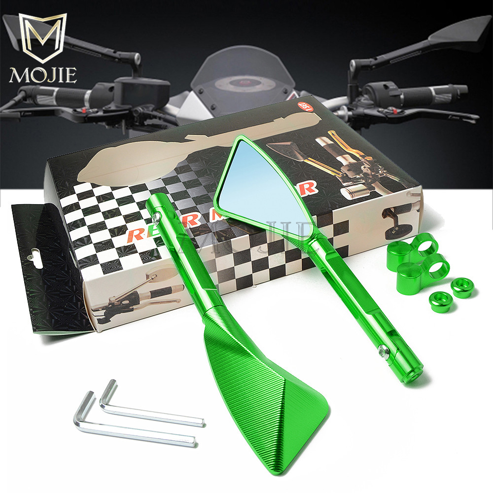 Mirror Scooter Rearview Rear View Side Mirror Handle Bar Motorcycle For <font><b>Kawasaki</b></font> ZX6R ZX9R ZX10R <font><b>ZXR250</b></font> ZXR400 ZZR400 ZZR600 image