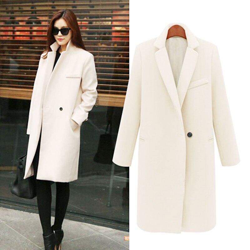 Jacket Coat Women 2017 Winter Autumn Cotton Padded Thicken Outerwear Single Button Elegant Warm Woolen Long Overcoat New цена