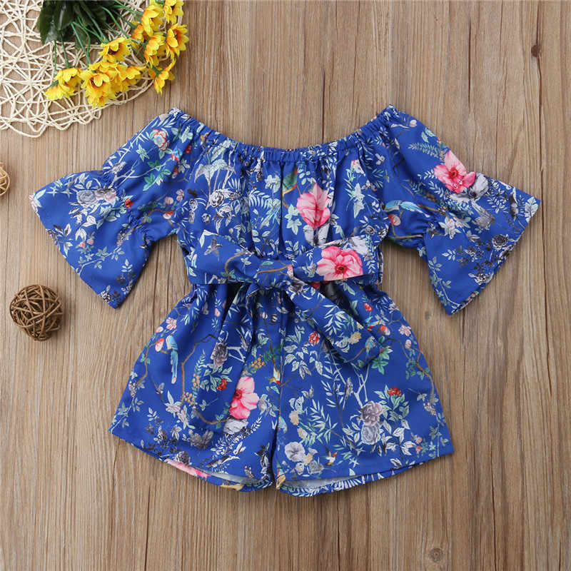 65062c62c8a ... Fashion Summer Retro Casual Toddler Baby Girls Off Shoulder Floral  Romper High Waist Bow Jumpsuit Sunsuit ...