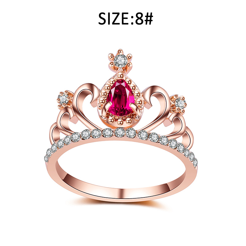Rose Gold Color Round Cut Cubic Zirconia Fashion Crown Rings for Weeding Bands Jewelry KQS8 ...