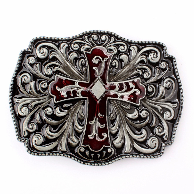 Tang Grass Pattern And Cross Modelling Belt Buckle