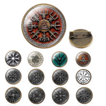 2019 New Glass Dome Collar Pin Vegvisir Viking Compass Lapel Pins Vintage Butterfly Stainless Steel Clasp Pin Silver Jewelry(China)