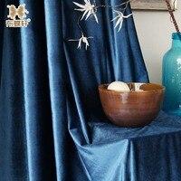Modern Estilo Simples Cor Sólida Azul Royal Velvet Luxo Janela Cortinas para Sala de estar Quarto Luxuoso Tamanho Personalizado|Cortinas| |  -