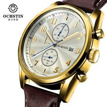 Marca homme montre limitada ochstin 2016 nuevos relojes de los hombres correa de cuero reloj de cuarzo reloj de los hombres deportes al aire libre masculinos regalo