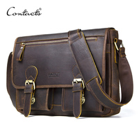 CONTACT'S Genuine Crazy Horse Cowhide Leather Men Messenger Bag For Laptop Male Vintage Tote Shoulder Crossbody Bags Handbag