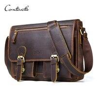 CONTACT'S Genuine Crazy Horse Cowhide Leather Men Messenger Bag For Laptop Male Vintage Tote Shoulder Crossbody Bags Handbag
