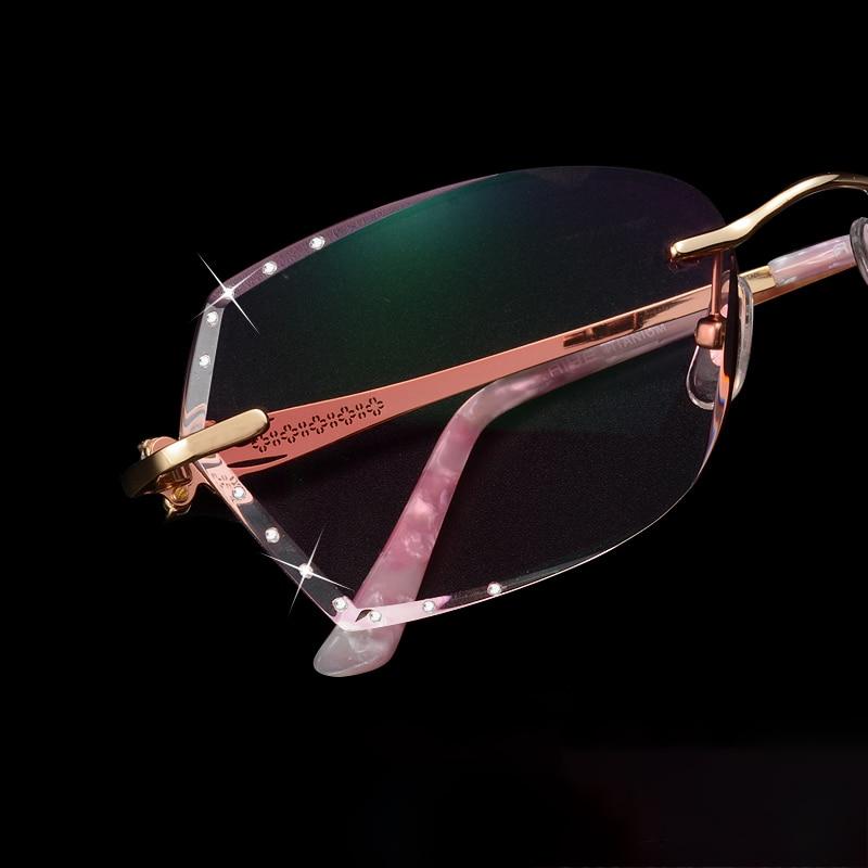 Braun Titan Damen Strass Objektiv Für brown Cubojue Lila grau Frau Randlose Sonnenbrille Gradienten Diamant Trimmen Frauen Rot PdYxqH