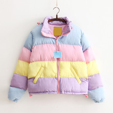 Harajuku Rainbow Jackets with Removable Hat for Women All-match Thick Clothing Loose Rainbow Splicing Color Coats For Women