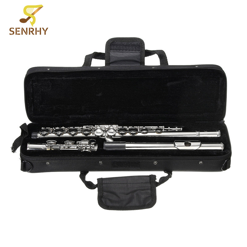 SENRHY Silver Cupronickel Nickel Plated 16 Hole C Key Flute Kit with Case Cover Parts For Musical Instrument Beginners professional new silver plated trumpet bb keys with monel valves horn case
