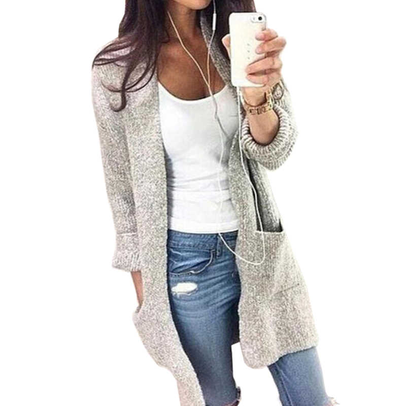 5647c55707b8 ... 2018 Plus Size Autumn Slim Long Sleeve Loose Sweaters Trench Coat Women  Windbreaker Winter Knitted Female ...