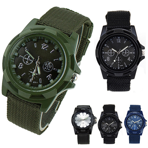Canvas Belt Solider Style quartz watches for Men Fabric Strap Luminous Army Wrist Watches