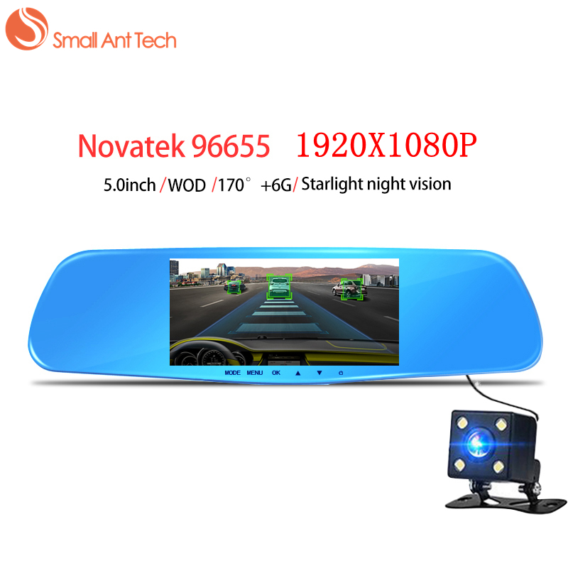 SmallAntTech Car DVRS Dash camera 5 Rearview Mirror Dual Lens Novatek 96655 HD Night Vision Recorder Registrator Video Dash Cam bigbigroad for vw tiguan routan car dvr blue screen dual lens rearview mirror video recorder 5 inch car black box night vision