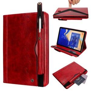 Image 2 - עבור Samsung Tab S4 T830 רטרו ספר עור מקרה ארנק כרטיס Stand כיסוי חכם עבור Samsung Galaxy Tab 10.5 T835 עם עט חריץ