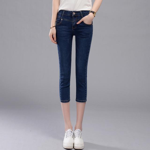 2017 Mulheres de Jeans Verão Fêmea Bezerro-Comprimento Simples Calça Casual Denim Calças Leggings Mulheres Calças Capris Magros Calças para mulheres