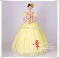 2014 Special Offer Natural Chiffon Floor length Ball Gown Square Collar New Beautiful Short Sleeves Period Stage Dress Theater