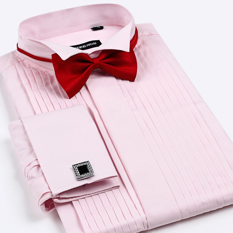 Mens French Cuff Tuxedo Shirt Solid Color Wing Tip Collar Shirt - Wedding Dress Shirt