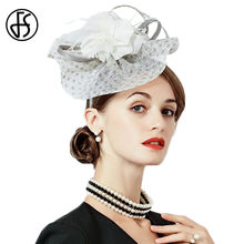 1c9d9d91e4c FS White Sinamay Wedding Hat Small Church Derby Hats For Women With Feather  Flower Pillbox Fascinators Ladies Formal Fedora