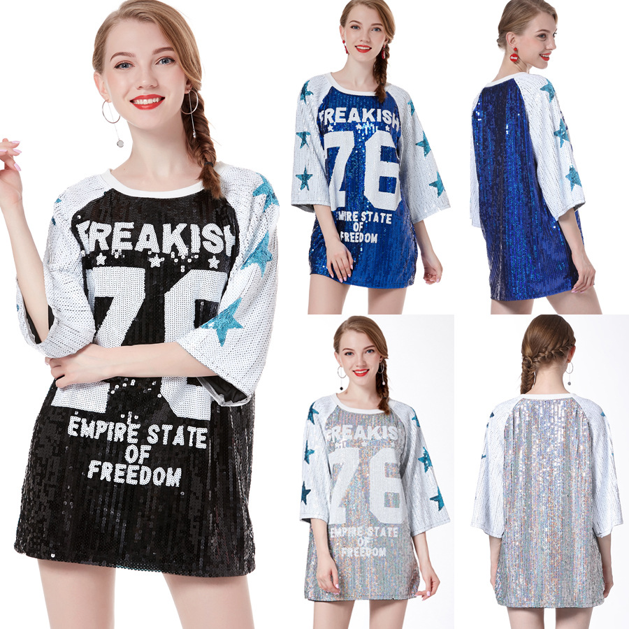 97b8f152 Women Oversized 3/4 Sleeve 76 Logo Sequin T Shirt Dress Casual Streetwear  Club Loose Long Tee Tunic Top Vestido Harajuku Dress-in Dresses from Women's  ...