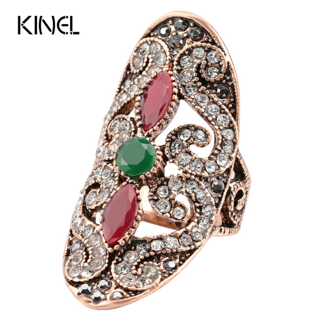 Kinel Retro Ring Trendy Women Jewelry Gold Color Inlaid Red Resin Big Oval Party