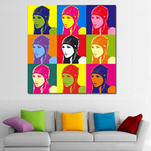 SELFLESSLY Andy Warhol Colorful Girls With Hats Canvas Painting Wall Art Print Posters Decorative Pictures Home Decor No frame(China)