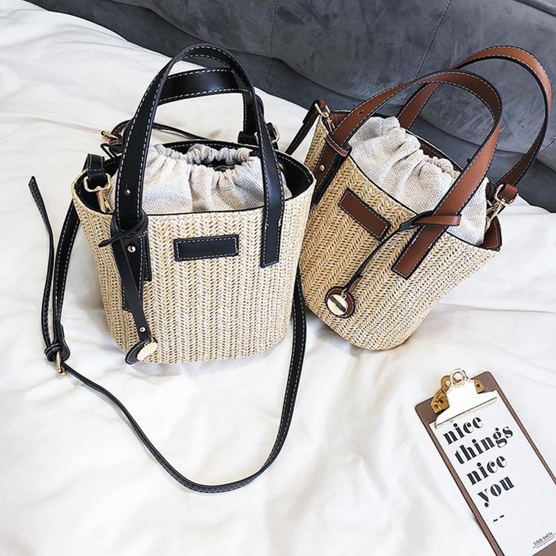 2019 Women Handmade Handbag Vintage Retro Beach Straw Bag Rope Knitted Big Messenger Bag Lady Fresh Paper Pack For Summer Tote