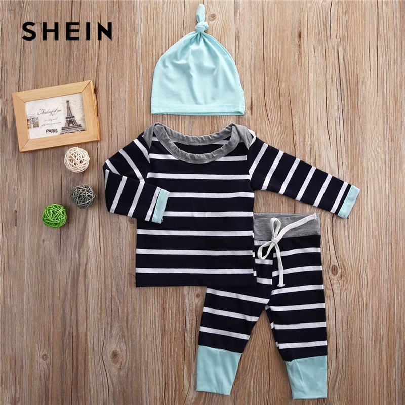 SHEIN Kiddie Toddler Boys Baby Boat Neck Striped Tee And Pants Set With Solid Hat Kids 2019 Spring Long Sleeve Casual Suit Sets black boat neck long sleeves slit hem jumper