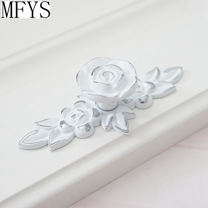 Shabby Chic Dresser Drawer Knobs Pulls Handles White Silver Rose Flower Kitchen Cabinet Knobs Handles Ornate Knob Hardware in Cabinet Pulls from Home Improvement