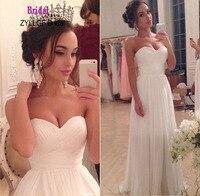 ZYLLGF Bridal Sheath Sweetheart Chiffon Wedding Dresses Long Floor Length Bridal Dresses Vestido De Noiva Barato
