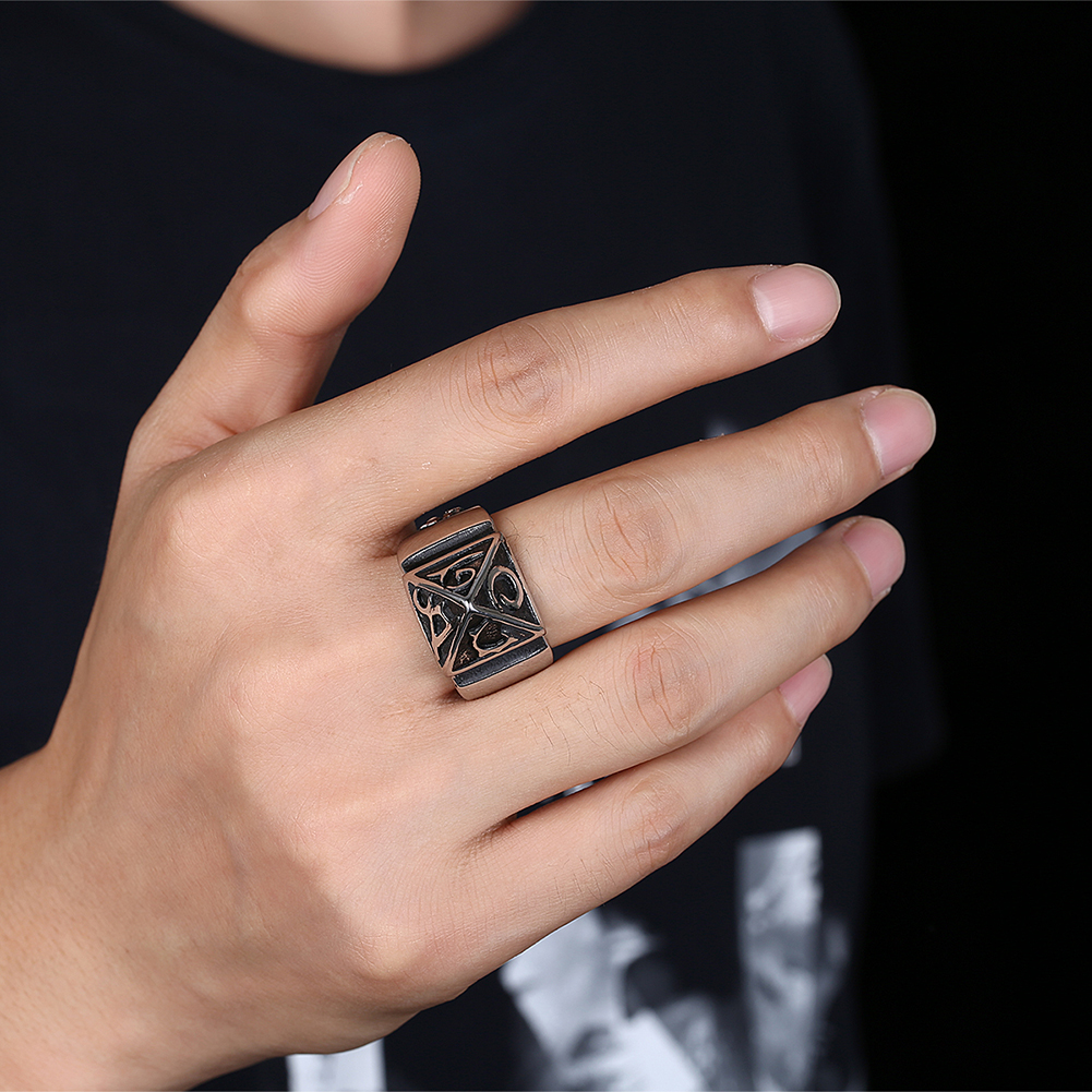 GOMAYA Mens Rings Geometric Gothic Punk Bikers Men 39 s amp Boys 39 Jewelry Halloween Gift Stainless Steel Bague in Rings from Jewelry amp Accessories