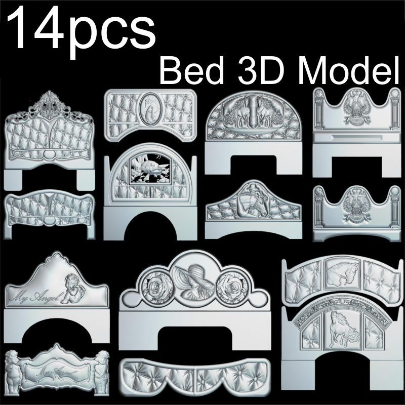 14pcs Bed 3d Model STL Relief For Cnc STL Format Frame Bed 3d Relief Model STL Router 3 Axis Engraver ArtCam