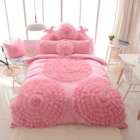 13372 хлопок постельное белье В стиле принцессы Постельное белье одноцветное Цвет розового и фиолетового цветов белого и синего цвета Полный