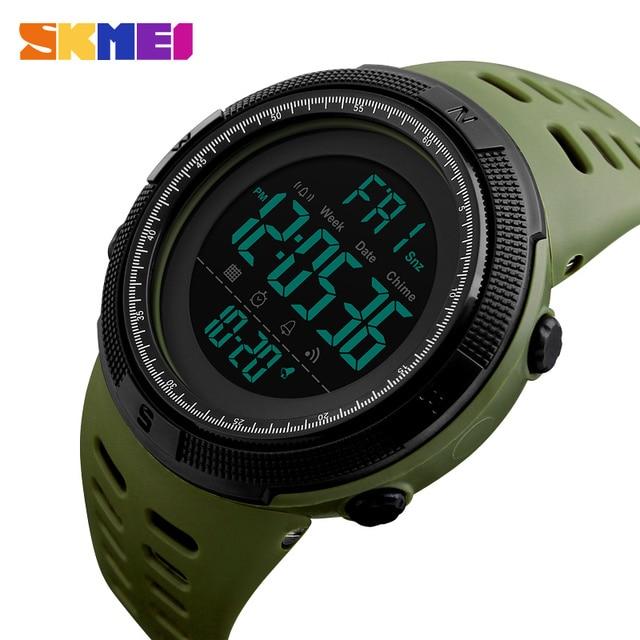 SKMEI Men Sports Watch Dual Time Watches Alarm Clock Countdown Montre homme 50M